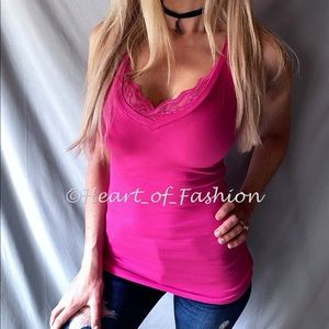 Fuchsia Lace Trim Deep V-Neck Sleeveless Top Tank